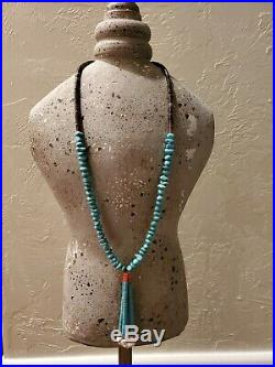 Navajo Turquoise Nuggets With Heishi and Jacla 17 Long Necklace