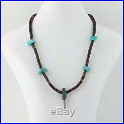 Navajo Turquoise & Shell Heishi Necklace 17 3/4 Sterling Silver Bear Claw