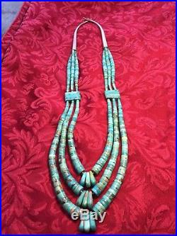 Navajo sterl Silver 3 strand Turquoise Heishi Bead Necklace Jacla Pendant Drop