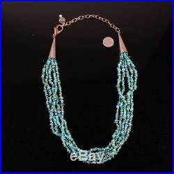 Navajo tribal FIVE strand quality turquoise bead shell heishi necklace Native