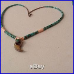 Navajo turquoise heishi, shell, sterling claw pendant, nice necklace w pendanr