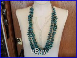 OLD NAVAJO 2 STRAND HEISHI & TURQUOISE NUGGET TAB NECKLACE with Squaw wrap