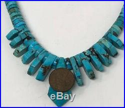 OLD PAWN Carved TURQUOISE BENCH BEAD Festoon NECKLACE HEISHI Sterling Silver