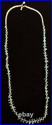 OLD Pawn Navajo Bisbee Turquoise Nugget & Shell Heishi 25 Necklace