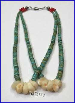 OLD SANTO DOMINGO GREEN KING's MANASSA TURQUOISE SHELL HEISHI JACLA NECKLACE