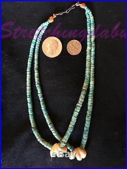 OLD pair Jacla Jocla Turquoise Heishi Necklace with Shell Corn Santo Dominto