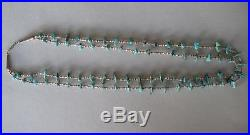 Old 2 strand turquoise + heishi bead necklace sterling silver tips 16 long