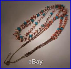 Old 36 Zuni Olive Shell Heishi & Turquoise Spiny Oyster Shell Nugget Necklace