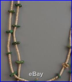 Old Antique Navajo Indian Necklace Green Turquoise White Shell Heishi 28.5