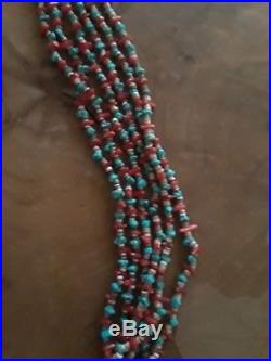 Old Dead Pawn Navajo CoralTurquoise Heishi 8 Strand Necklace Sterling Cone Clasp