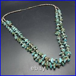 Old NAVAJO Handmade TURQUOISE Nugget Beads 2-Strand NECKLACE with Shell Heishi
