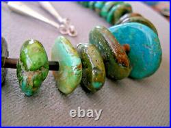 Old Native American Indian Green Blue Turquoise Nugget Shell Heishi Necklace