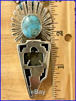 Old Native American JT Sterling Silver Turquoise Kachina Pendant Heishi Necklace