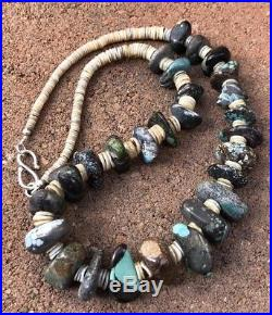 Old Native American Navajo Turquoise Shell Heishi Sterling Silver Necklace 23