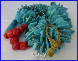 Old Navajo 2 Strand Jacla NECKLACE with Turquoise Heishi Shell and Coral 34L
