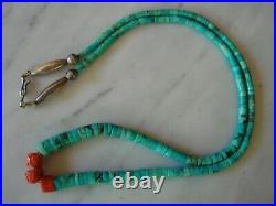 Old Navajo Kingman Turquoise Heishi Mediterranean Coral Silver Bead Necklace