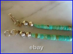 Old Navajo Kingman Turquoise Heishi Necklace Silver Bench Bead Finish