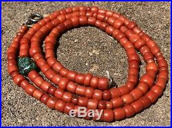 Old Navajo Mediterranean Branch Coral Number #8 Turquoise Heishi Necklace 27.5