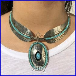 Old Navajo Santo Domingo Heishi Turquoise Inlay Stamped Leaf Shadowbox Necklace