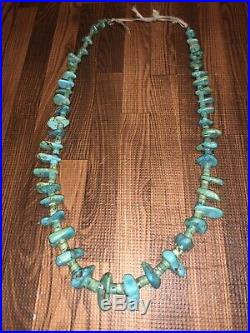 Old Pawn 1950s Santo Domingo Morenci Turquoise Necklace Hand Rolled Heishi