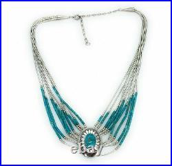 Old Pawn 9-Strand Sterling Liquid Silver Turquoise Heishi Bead Concho Necklace