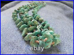 Old Pawn Double Strand Turquoise, Olive Shell heishi Necklace 31 Santo Domingo