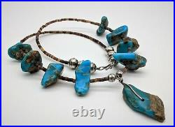 Old Pawn Handmade Native American Turquoise, Heishi Sterling Bench Bead Necklace