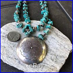 Old Pawn LARGE Silver Hollow Pendant on Turquoise & Heishi Necklace 23.5