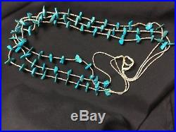 Old Pawn NAVAJO 3 STRAND GENUINE LARGE TURQUOISE CHUNKS AND HEISHI NECKLACE 32