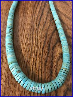 Old Pawn NAVAJO Sterling Silver Graduated TURQUOISE HEISHI Disc Bead Necklace