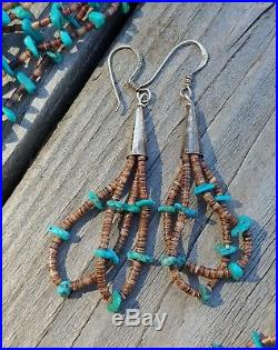 Old Pawn Native American Multi Strand Turquoise Heishi Sterling Necklace/Earring