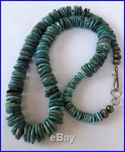 Old Pawn Native American Navajo Bisbee Turquoise Heishi Graduated Necklace 28.5