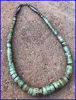 Old Pawn Native American Navajo Royston Turquoise Heishi Graduated Necklace 17