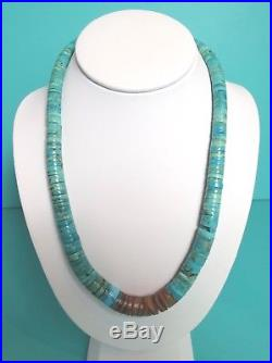 Old Pawn Native American Turquoise Coral Heishi Bead Necklace 104g OLD