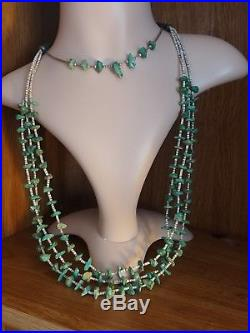 Old Pawn Native American Turquoise Heishi Sterling Bench Bead Wrap Necklace