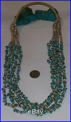 Old Pawn Navajo 5 Strand Turquoise & Shell Squaw Wrap Heishi Necklace 123.2 G