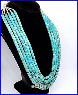 Old Pawn Navajo 5 Strand Turquoise Sterling Benchmade Bead Heishi Necklace 19