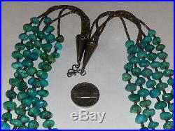 Old Pawn Navajo 5 Strand Turquoise & Sterling Silver Heishi Necklace28L143.2G