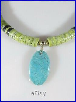 Old Pawn Navajo Bench Heishi Sterling Silver Turquoise Dennis Ramone Necklace