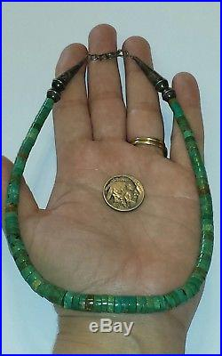 Old Pawn Navajo Fred Harvey Era Turquoise & Sterling Heishi Necklace15.5L22G