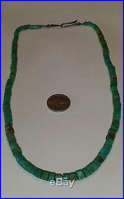 Old Pawn Navajo Fred Harvey Era Turquoise & Sterling Heishi Necklace 19.5L