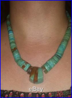 Old Pawn Navajo Graduated Turquoise & Sterling Heishi Necklace With Joclas 19L