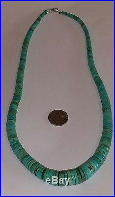 Old Pawn Navajo Graduated Turquoise & Sterling Silver Heishi Necklace22.5L86G