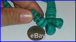 Old Pawn Navajo Graduated Turquoise & Sterling Silver Heishi Necklace WithJaclas