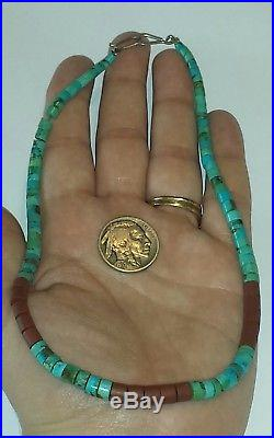 Old Pawn Navajo Handmade Bisbee Turquoise & Sterling Heishi Necklace 15.5L