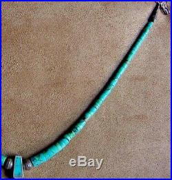 Old Pawn Navajo Native American Silver Fine Turquoise Heishi Eagle Claw Necklace