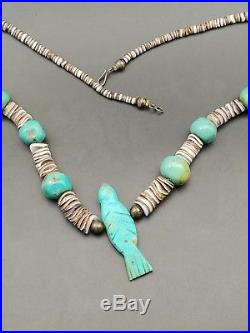 Old Pawn Navajo Turquoise Heishi Sterling Bench Bead Necklace