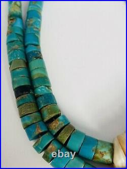 Old Pawn Navajo Turquoise Heishi Thick Disc Bead Sterling Necklace Handmade