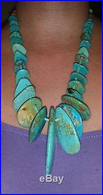 Old Pawn Navajo Turquoise & Sterling Silver Heishi Necklace23L120.7 Grams