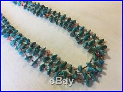 Old Pawn Necklace 3 Strand Turquoise Coral Heishi Shell